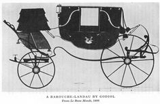 Barouche-landau combines the best features of a barouche and a landau. (1) Like landau it has a two-way folding top that can cover front & rear seat; (2) like the barouche it has a crane-neck carriage, providing a more comfortable ride; (3) like a barouche it has no rear platform that would have allowed a servant to overhear the conversation of passengers when the top was lowered; (4) instead of the single driver's seat of a barouche, the barouche box has storage space and seats for two people