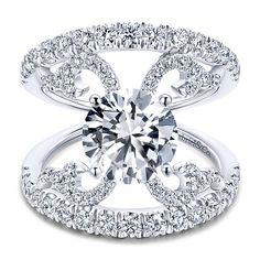 14k White Gold Round Split Shank Engagement Ring angle 1