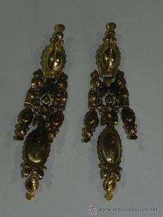 Antigüedades: Pendientes de oro y plata, de tipo fragati. - Foto 2 - 52001808