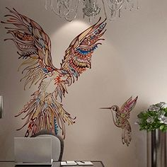 Amaonm Giant Huge Size Removable Vinyl Cute Cartoon Colorful Animals Parrot Birds Wall Decal Wall Stickers Murals Wallpaper for Offices Nursery room Bedroom Living room Background Decorations ** Be sure to check out this awesome product.
