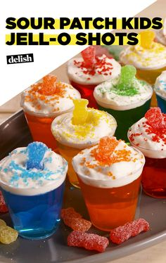 First their boozy... then their sweet... then their GONE. Get the recipe at Delish.com. #sourpatchkids #sour #candy #delish #jello #shots #alcohol #cocktail #sweet