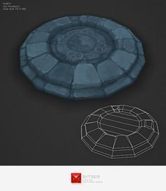 asset, bitgem, blue, circle, diablo3, dungeon, floor, ground, hand, low, lowpoly, matthias, omnione, ornament, painted, plinth, poly, rock, stone, texture, tile, tomb, wow