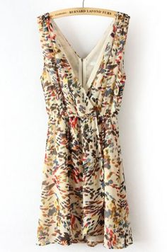 Yellow Deep V Neck Backless Floral Dress pictures