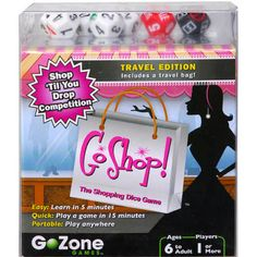 GoShop is a round-the-table dice game for 2-6 players. Players take turns rolling the dice to make as many purchases as they can, aiming for the finest designer items. The shopper with the most purchases wins! All ages can play, but younger kids may need a little help adding up their purchases and figuring out sales.  $14.95  http://www.calendars.com/Dice-Games/Shopping-Dice-Game/prod201100007813/?categoryId=cat490030=cat490030#