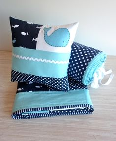 WHALE Quilt Set, Baby Boy Crib Quilt , Spot bumper set and Patchwork Pillow -Ready to ship..last of whale fabric. $295.00, via Etsy.