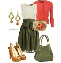 Green, high wasted skirts, neutral pumps and a peach cardigan to remind you of your baby sister lol