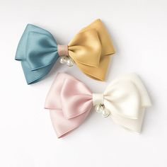 Half hair bow in light pink and white or teal and mustard yellow, french barrette, pearl charms, hair ribbon, bow hair, hair barrette clip