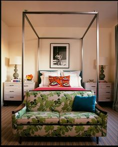 13 Ways to Rethink the Foot of Your Bed — From the Archives: Greatest Hits bedroom tropical red poster neutral;