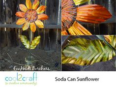 Use soda cans to create a whole range of aluminum can crafts. Pop cans and even soup cans are used to shape fun decorating projects and toys. Over 90 aluminum can craft projects. Aluminum Can Flowers, Aluminum Can Crafts, Aluminum Cans, Metal Crafts, Soda Can Flowers, Tin Flowers, Recycle Cans, Recycling, Upcycle