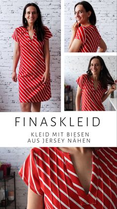 NIKKIE – Kleid mit Biesen und gelegten Falten – Rot