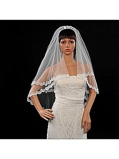 Elbow Length 2 Tiers Ivory Applique Edged Wedding Veil with Comb - USD $9.99