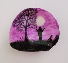 Hand Painted Shell, Mothers Day Gift, Silhouette Painting on Shell, Moon Art, Shell Art, Tree Silhouette, Mothers Day Art, Painted Seashell:
