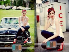 love the reds in the headband, heels, lips, and words.