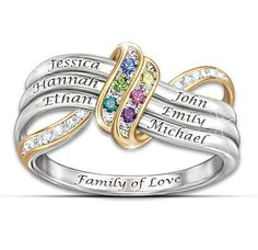 A family's love is forever! Now, celebrate that special bond with a ring that boasts the beautifully engraved names and genuine crystal birthstones of your loved ones. Create your own custom-made ring that sports a meaningful infinity design that expresses the forever love of family,