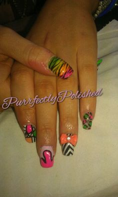 Aztec , leopard , zebra , neon , gems , blue , pink rhinestones funky nails More on www.facebook.com/kayliegh.nails x