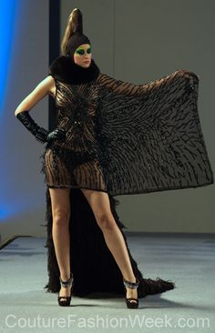 Catalin Botezatu Couture Fashion Week New York Spring 2013 #FashionWeek #Fashion #Couture #AndresAquino #Style #Women #Designer #Model #Black #Dress #Dark #Sequence #Feather #Pattern