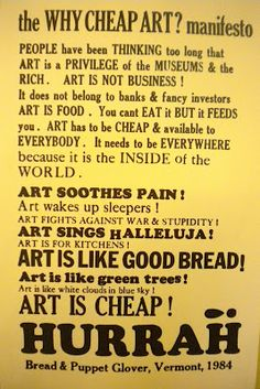 Why Cheap Art? manifesto from Waitsfield ES blog, Bread and Puppet Theater