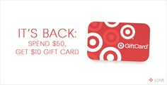 It's Back: Spend $50 get $10 at Target. www.designlovelife.com