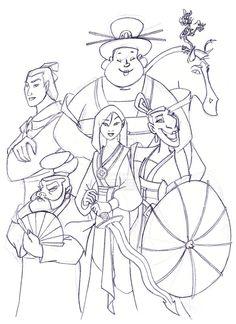 Mulan fan art Coloring Pages   Mulan's team by Ohanamaila on DeviantArt