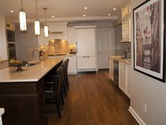 Two load bearing walls were removed in order to achieve a large kitchen.