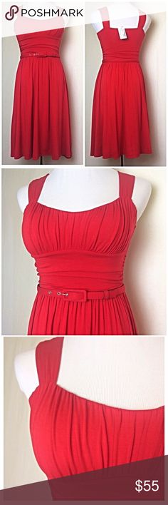 Stunning NWT BB Dakota jersey knit red dress Beautiful flattering dress- can be worn with or without included belt- nice quality material empire waistline with tuxedo cut ruched bust- lovely! BB Dakota Dresses