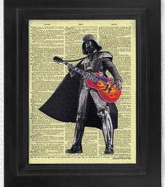 Darth Vader Plays Hollow-body Guitar Star Wars art by HelloUwall Dictionary Art, Wall Decor, Wall Art, Free Prints, Mixed Media Collage, Star Wars Art, All Print, Book Art, Darth Vader