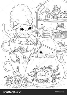 and white cats having british afternoon tea, for coloration Baby Coloring Pages, Free Adult Coloring, Dog Coloring Page, Coloring Book Art, Animal Coloring Pages, Coloring Sheets, Applique Designs Free, Zentangle Drawings, Illustration