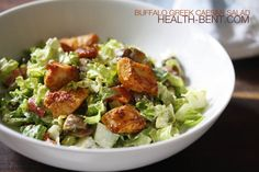 Buffalo Greek Caesar Salad - so good, I can't stop making it! Good for primal/Paleo/gluten-free diets, too. Paleo Recipes, Low Carb Recipes, Real Food Recipes, Chicken Recipes, Cooking Recipes, Free Recipes, Ceasar Salad, Clean Eating, Healthy Eating