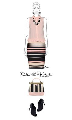 Office outfit: Blush - Black by downtownblues on Polyvore #officewear  #Sleeveless  #stripes  #pencilskirt  #peeptoe  #ankleboots  #MissSelfridge #Zalora