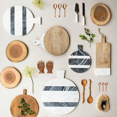 Designed exclusively for terrain, this classic serving board pairs polished mango wood with a panel of crisp, white marble.- A terrain exclusive- Mango wood . Marble Board, Diy Cutting Board, Marble Cutting Board, Wedding Gifts For Guests, Petrified Wood, Serving Board, Serving Trays, Flatware Set, Cutlery