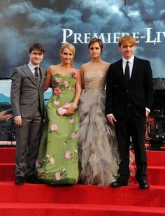 The Harry Potter cast at their last movie premiere. | Rupert Grint, J. K. Rowling, Daniel Radcliffe and Emma Watson