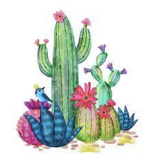 Cactus Drawing, Cactus Painting, Cactus Art, Watercolor Succulents, Watercolor Cactus, Watercolor Paintings, Painting & Drawing, Doodle Art, Frida Art