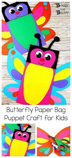 Butterfly Paper Bag Puppet Craft for Kids: Use our free butterfly printable PDF template to create a colorful butterfly project art project for children. Great for imaginative and creative play! ~ #puppetcraft #paperbagcraft #craftforkids #butterflycraft #creativeplay #imaginativeplay