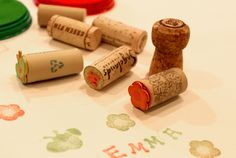 Love this eco-friendly art project. Homemade Birthday gift idea: cork stamps made out of old wine corks.