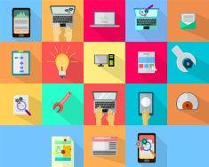 WEB & Development Icons vector art illustration