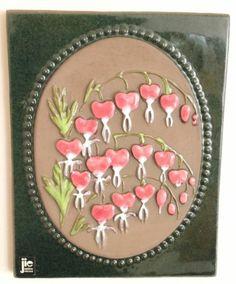 Vintage Sweden JIE Gantofta Wall Plaque M Bleeding Heart 876 Design Aimo Wall Plaques, Sally, Sweden, Scandinavian, Ceramics, Heart, Ebay, Vintage, Design