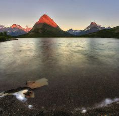 Sunrise at Swift Current Lake Glacier National Park MT. [OC] [1425x1386]