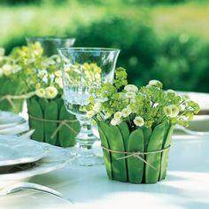 Snow pea wrapped flower pots