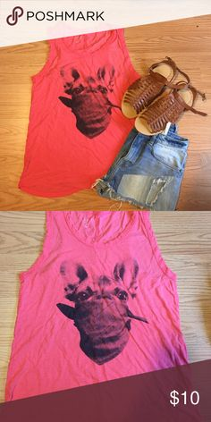 Guess Giraffe Tank Guess tank with giraffe image Color: coral Size: XS Oversized - could fit small too GUESS Tops Tank Tops
