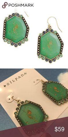 "NWT SILPADA Botanical KRW0076 Green Brass Earrings NWT SILPADA - KRW0076 - Resin Swarovski Crystals Brass ""Botanical"" Earrings. Matching ring also available Silpada Jewelry Earrings"
