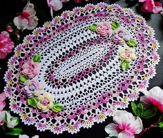 Oval flower doily