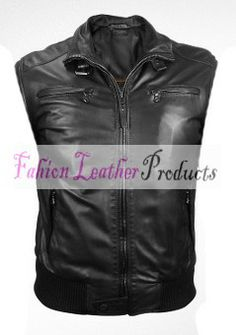 MEN'S COW HIDE BLACK LEATHER VEST