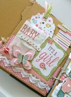 Hi Everyone, I just finished the Baby Girl book and wanted to show you the photos. I tried to keep it similar to the baby boy but not all the stickers in the kits were the same. I think all the lace and pretty trims really add to this book. Mini Album Scrapbook, Scrapbook Bebe, Baby Girl Scrapbook, Baby Scrapbook Pages, Handmade Scrapbook, Pregnancy Scrapbook, Baby Mini Album, Bridal Shower Scrapbook, Baby Girl Cards