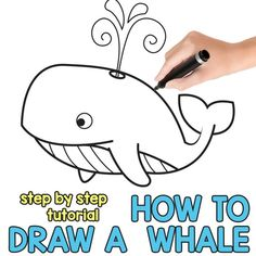 Whale Drawing for Kids - Step by Step Directed Drawing Best Drawing For Kids, Easy Drawings For Kids, Cool Drawings, Beautiful Drawings, Cartoon Whale, Cartoon Kids, Farm Animals For Kids, Whale Drawing, Easy Animal Drawings