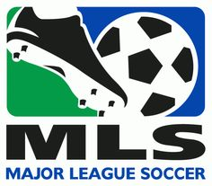 Major League Soccer Primary Logo (1996) - A soccer ball getting kicked in a blue and green square