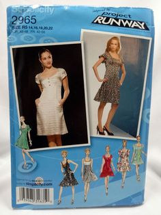 Simplicity 2965, Misses Dress with Skirt and Bodice Variations, Project Runway Inspired, Sewing Pattern, Size 14, 16, 18, 20, 22, Uncut by Allyssecondattic on Etsy