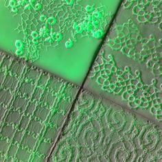 Green led light behind tex-tiles #tiles #transparant #white #translucent #porcelain #15x15 #bathroom #textiles #wall #decoration #led #imprint #relief #barbaravos #wallcovering #kitchen #shower #home #interior #design #glaze #backsplash #flower #pattern #coral #fabric