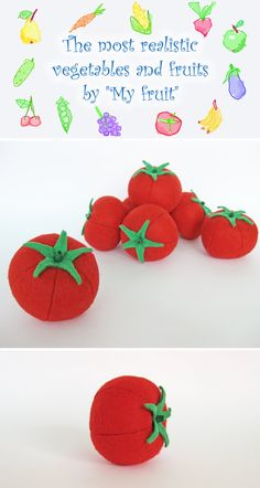 Felt play food Tomato (1 pc) by MyFruit I suggest you to buy realistic stuffed toys, made of felt for your little ones. For playing the Garden Harvest