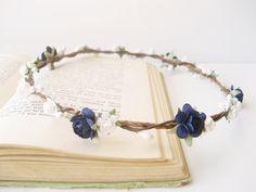 Flower Crown, Navy, White, Bridal Headpiece, Bridal Crown, Floral Circlet, Woodland Halo, Floral Crown, Simple Wedding Hair Accessories on Etsy, $42.00