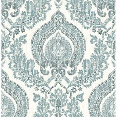 NU1702 - Kensington Damask Blue Peel and Stick Wallpaper - by NuWallpaper